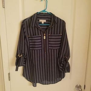 Michael by Michael Kors Blue Striped Top